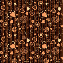 Hand Drawn Flowers And Hearts Random Repeat Seamless Pattern. Food, Drink Or Cosmetics Package Toss Repeat Surface Design. Ditsy Striped Boundless Background. Orange And Brown Doodle Endless Texture.