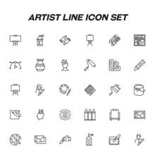 Profession Of An Artist Concept. Artist Line Icon Set