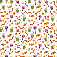 Seamless Pattern With Halloween Sweets On A White Background. Lollipops, Pumpkin, Drink, Worms And Candy. Vector Illustration In Minimalistic Flat Style, Hand Made Child S Drawing. Textile Printing