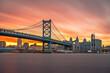 Leinwandbild Motiv Philadelphia, Pennsylvania, USA skyline on the Delaware river with Ben Franklin Bridge