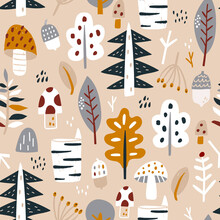 Woodland Seamless Pattern. Trendy Forest Texture Perfect For Textile, Fabric, Apparel, Wallpaper.Vector Illustration