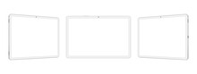 White Tablet Computers Mockups With Blank Horizontal Screens, Front And Side View, Isolated On White Background. Vector Illustration