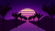 Retro Futuristic Tropical Road With Mountains, Sunset And Palm Trees. Retrowave And Synthwave Style Illustration Of Road, Sun, Mountain And Palms. Retro Poster Or Banner Design In 1980s Style. Vector.