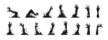 Zombie Hand Silhouettes. Black Creepy Monster Arms From Graves For Halloween Posters. Cartoon Cadavers Rotting Limbs Set. Undead Apocalypse Elements. Vector October Holiday Decoration
