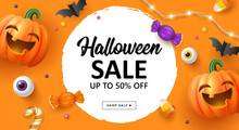 Halloween Holiday Sale Banner Template For Social Media Advertising, Invitation Or Poster Design With Jack O Lantern Pumpkin And Candy On Orange Background.