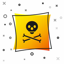 Black Skull On Crossbones Icon Isolated On White Background. Happy Halloween Party. Yellow Square Button. Vector