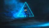 Egyptian fantasy abstract background, Egyptian goddess Bastet, black cat. Abstract dark background. Night futuristic landscape. 3D