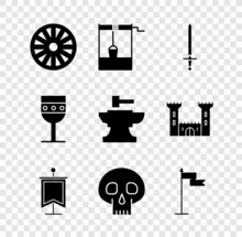 Set Old Wooden Wheel, Well With Bucket, Medieval Sword, Flag, Skull, Goblet And Anvil For Blacksmithing Hammer Icon. Vector