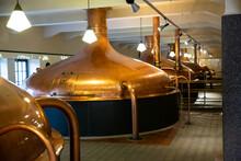 Brewery Brewhouse Interior. Modern Brewery