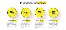 Set Add New Folder, Crossed Meat Chopper, Flag And Bank Building. Business Infographic Template. Vector