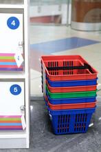 Shopping Basket, Supermarket Storage Cabinet. Security Concept