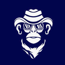 Cowboy Funky Monkey Line. Pop Art Logo. Colorful Design With Dark Background. Abstract Vector Illustration.