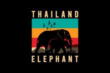 Thailand Elephant,retro Vintage Style Hand Drawing Illustrationa