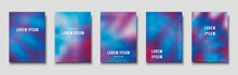 Set Of Cover Templates. Hand Painted Psychedelic Tie Dye Blurred Background. Vector Illustrations For Posters, Flyers And Placards Design