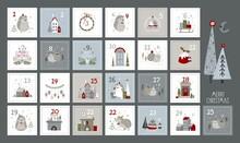 Christmas Advent Calendar.Vector Illustration.