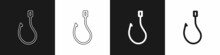 Set Fishing Hook Icon Isolated On Black And White Background. Fishing Tackle. Vector