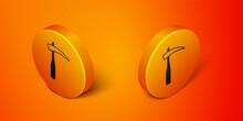 Isometric Scythe Icon Isolated On Orange Background. Happy Halloween Party. Orange Circle Button. Vector