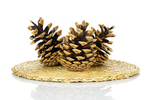 Group Of Three Whole Beautiful Pine Cone On Straw Coaster Isolated On White Background