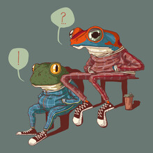 Illustration Of Two Sitting Frogs Dressed In Sport Suits