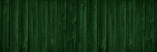 Dark Green Wooden Background With Copy Space For Design. Wide Banner. Painted Wood Planks.