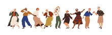 Aged People Having Fun At Senior Dance Party. Happy Old Man And Woman Dancing With Joy. Active Elderly Females And Males Moving To Music. Flat Vector Illustration Isolated On White Background
