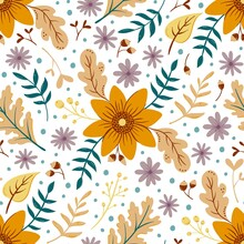 Sunflower Autumn Seamless Pattern On White. Floral Pattern With Fall Leaves And Colorful Flowers. Thanksgiving Background Design