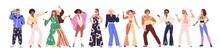 Set Of People From 80s. Man And Woman Dance Disco In Retro-styled Fashion Outfits Of 1980s. Stylish Characters In Party Clothes Of Eighties. Flat Vector Illustration Isolated On White Background