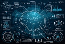 HUD Futuristic User Interface, Business Technology Infographic, Digital Dashboard, Data Chart. Vector Hologram Elements, Information Displays, Info Boxes, Ui Callout Titles, Digital Hi-tech Style Bars