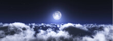 Moon Above The Clouds, Moonrise, Lunar Landscape, Moon Among The Clouds, 3d Rendering