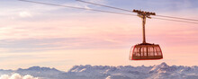 Sunset Alps, Cable Car, Snow Mountain Peaks Banner
