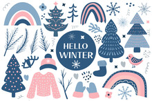 Hello Winter Boho Set Elements. Bohemian Winter Season Collection Clip Art Hand Drawing Style. Christmas Tree And Warm Clothes, Snowflakes. Vector Illustration