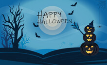 Halloween Background With A Full Moon, Pumpkins And Trees, A Spider And Bats. The Finished Picture Is A Postcard In A Vector.