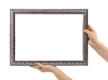 Old Silver Picture Frame In Hands