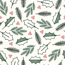 Green Christmas Holly Leaves And Red Berries Repeat Pattern Fabric Print Background. Surface Pattern Design. Great For Home Decor, Holiday Greeting Cards And Retro Patchwork Sewing Projects.