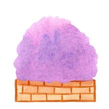 Purple Tree Bush Watercolor, Purple Bushes In A Brick Pots Watercolor Hand Drawn