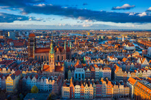 Beautiful Architecture Of The Old Town In Gdansk Before Sunset. Poland