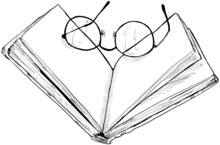 Hand Drawn Vector Illustration Of Books With Reading Glasses. Vintage Sketch Of Law Or University Studying Books.