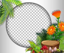 Round Frame Transparent With Orange Flowers And Leaves Template