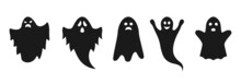 Ghost Icon Set With Cute Cartoon Spooky, Scary, Happy And Funny Faces. Halloween Symbol. Vector Illustration.