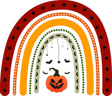 Halloween Rainbow, Background For Halloween, Halloween Rainbow With Scary Pumpkin Bats And Spider, Halloween Pattern Rainbow Design, Halloween Color Rainbow With Scary Pumpkin Lantern