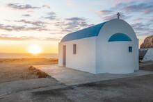 Traditional Greek Church On Coast At Sunset Greek Islands, Greece