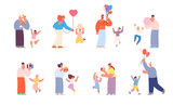 Parents congratulations kids. Birthday family party, cartoon children with adults. Holiday cake, people giving gifts. Festive utter vector characters
