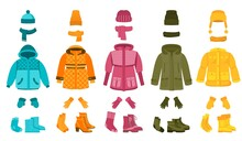 Warm Cloth And Accessories. Winter Clothing, Cartoon Women Seasonal Garment. Coat And Jacket, Hat And Scarf. Isolated Fashion Recent Vector Set