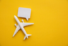 Airplane With A Blank Speech Bubble. Flight Feedback And Holiday Communication Background