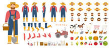 Young Male Farmer Constructor Set. Person Working On A Farm.