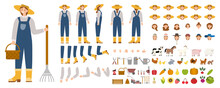 Young Female Farmer Constructor Set. Person Working On A Farm.