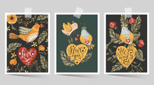 Valentines Day Cartoon Vector Card Set With Hand Drawn Lettering Quote Flower, Bird And Heart. Love Greeting Print Poster. Ornate Floral Design.