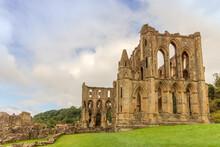 Ruins Of Rievaulx Abbey, A Cistercian Abbey In Rievaulx  Near Helmsley In The North York Moors National Park, England.