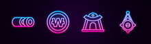 Set Line Sushi, South Korean Won Coin, Temple And Lantern. Glowing Neon Icon. Vector