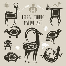 Native Totem Animals. Tribal Ethnic Animal Drawings, Lizard Deer Fish Frog Goat Bird Drawn Totems Beast Symbols, Indigenous Tattoo Mythology Brute Ornament Signs